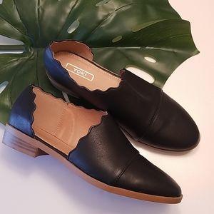 Yoki Scalloped Open Sided Chaslie Style Black Boot